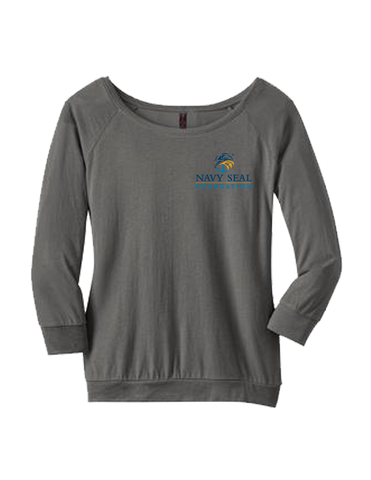 District Made Ladies Modal Blend 3/4 Sleeve Raglan - Warm Grey