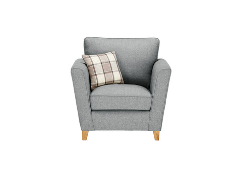 Ashleigh Armchair in Dash Angora with Alderney Check Scatter