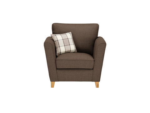 Ashleigh Armchair in Dash Mocha with Alderney Check Scatter