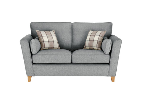Ashleigh Medium Sofa in Dash Angora with Alderney Check Scatters