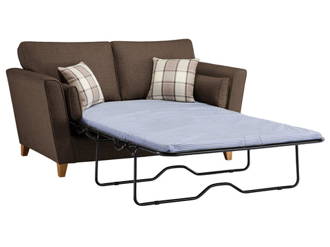 Ashleigh Medium Standard Sofa Bed in Dash Mocha with Alderney Check Scatters
