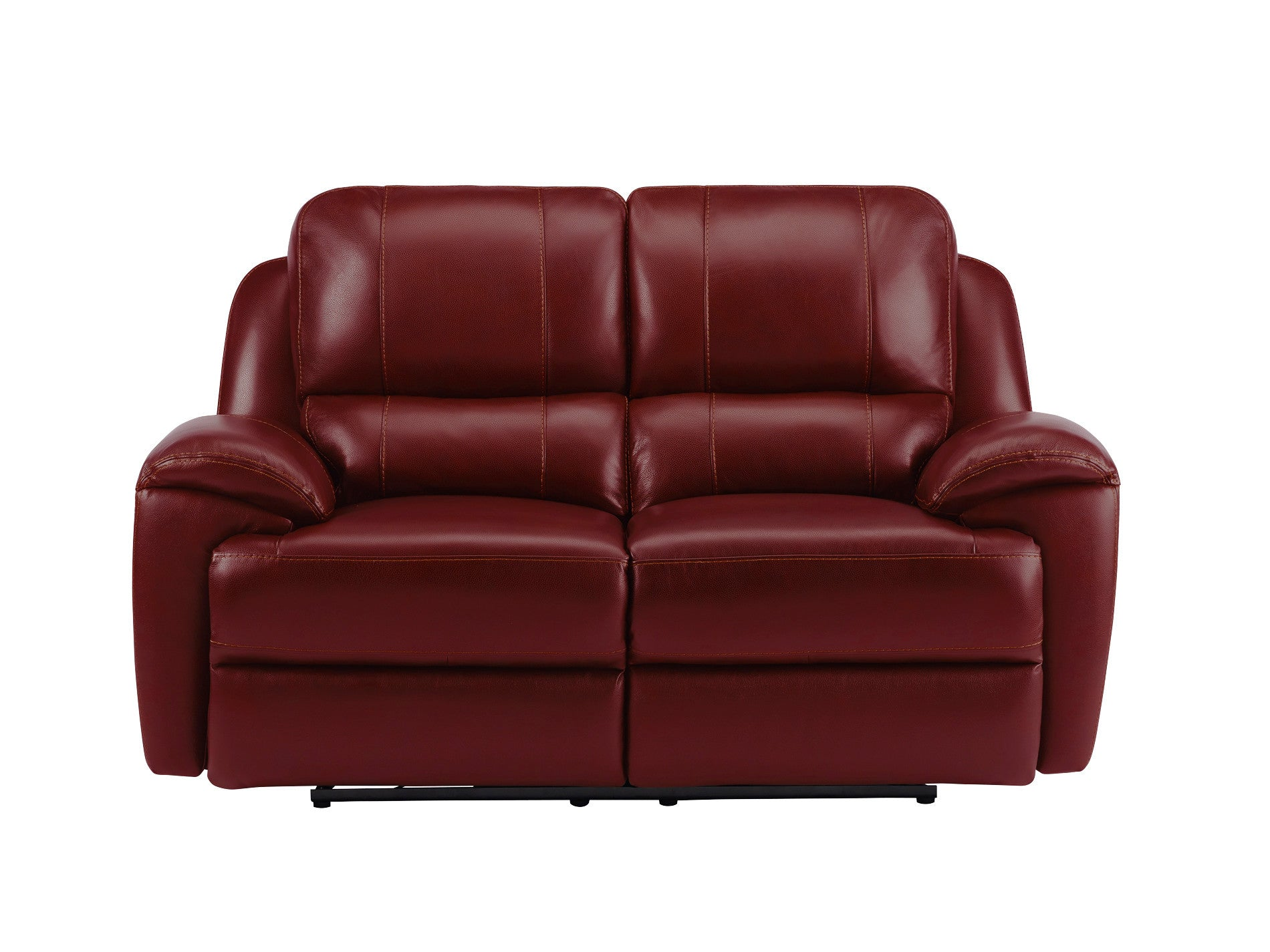 Finley Medium Sofa with 2 Electric Recliners Burgundy Leather