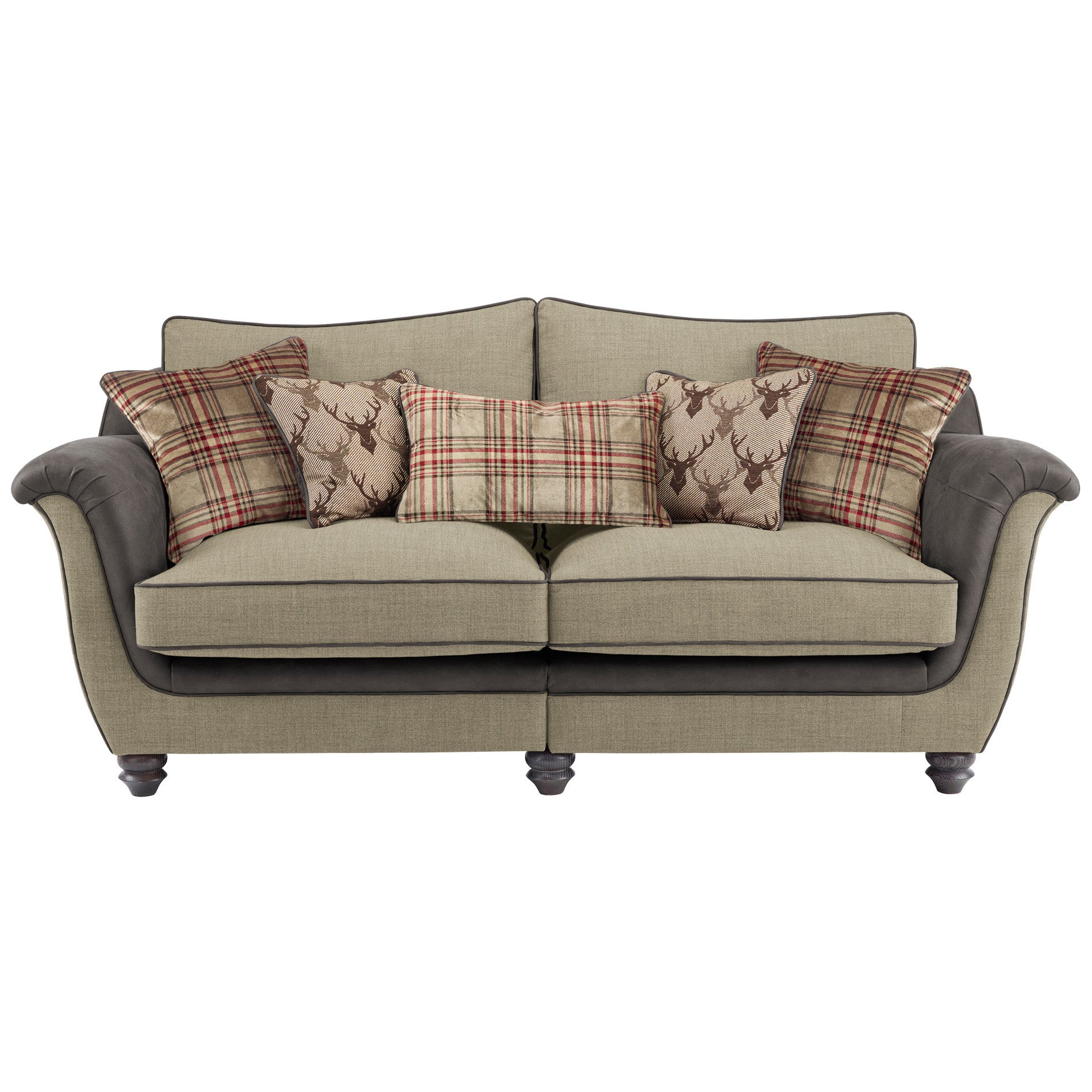 Galloway High Back Sofa in Blyth Fabric Beige with Mink