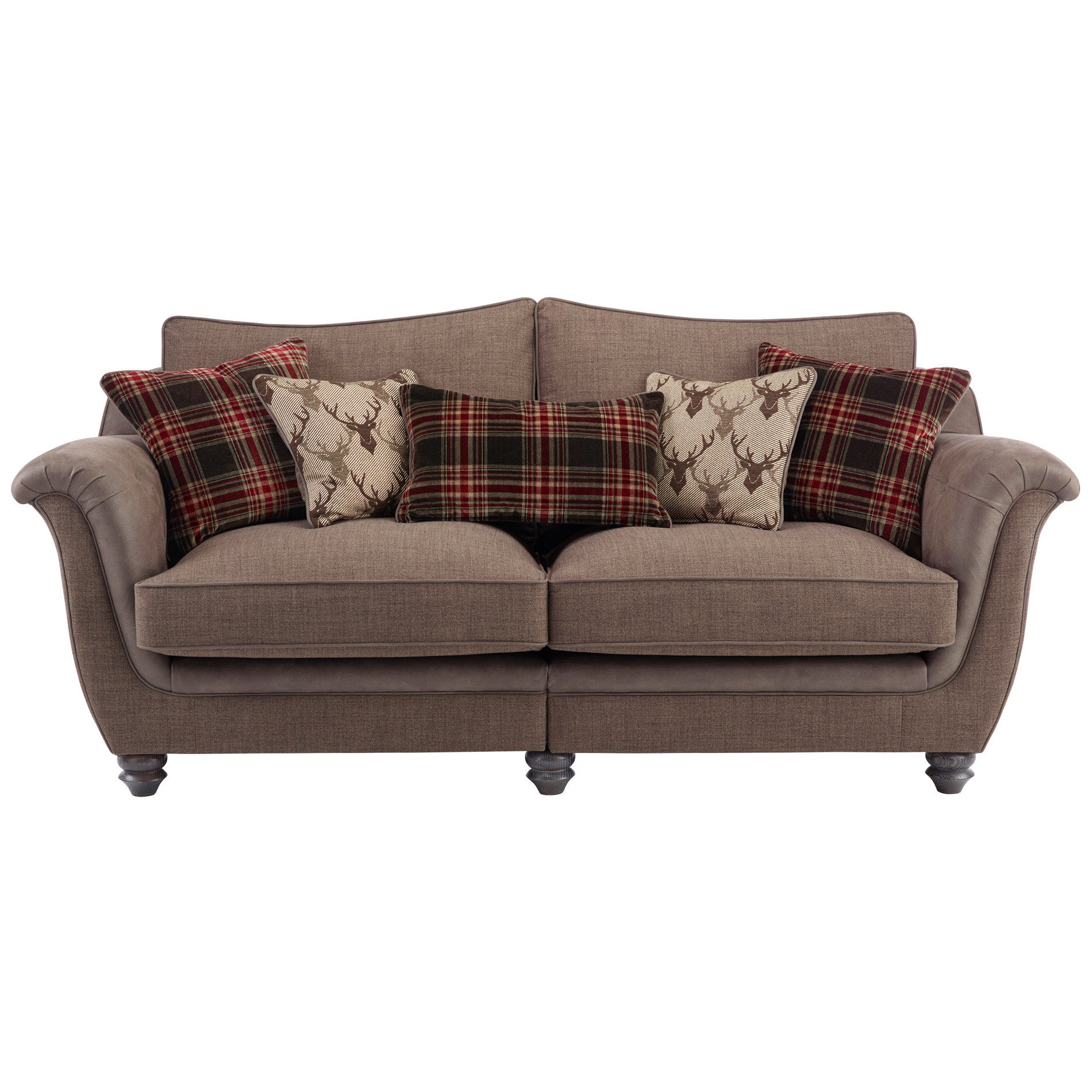 Galloway High Back Sofa in Blyth Fabric Brown with Brown