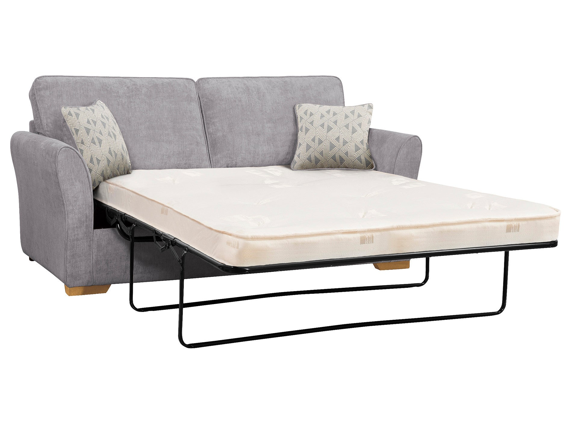 Sofa beds with sprung mattress - Jasmine Large Sofa Bed With Deluxe Mattress In Cosmo Pewter With Bamboo Slate Scatters