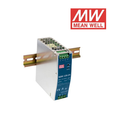 ALIMENTATORE MEAN WELL AC/DC Enclosed DIN RAIL 120W 24Vdc 5A NDR-120-24