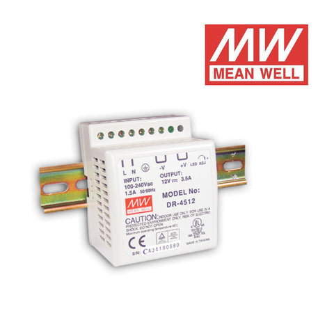 ALIMENTATORE SWITCHING MEAN WELL per GUIDA DIN 24Vdc 45W 1.91A DR-4524