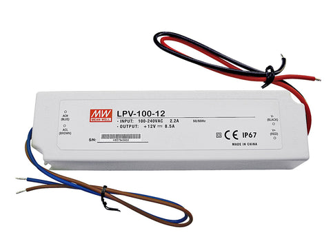 ALIMENTATORE MEAN WELL IP67, 12V, 8.5A, 102W LPV-100-12
