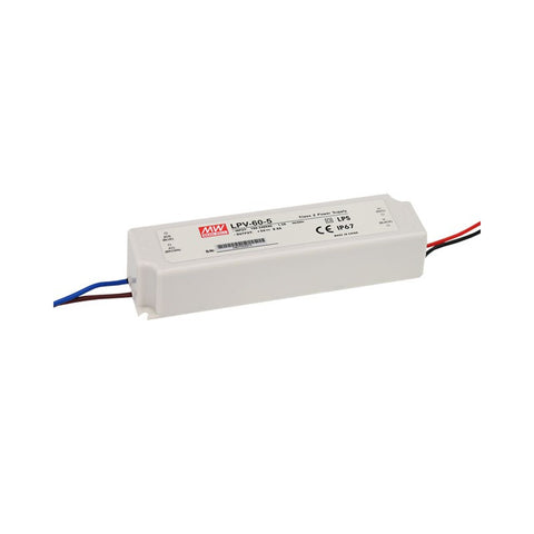ALIMENTATORE MEAN WELL IP67, 12V, 5A, 60W LPV-60-12