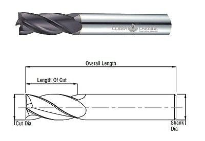 "Cobra Carbide 22564 3/8"" Carbide End Mill TiAlN coated, 4 Flute Single End"