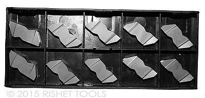 RISHET TOOLS NG 3189R C2 Uncoated Notched Grooving Carbide Inserts (10 PCS)