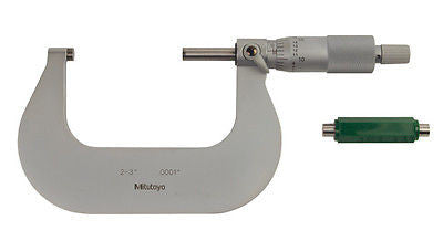 Mitutoyo 101-119 Outside Inch Micrometer Satin-chrome Finish Ratchet Stop 2-3""
