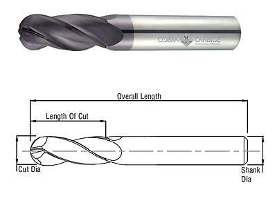 Cobra Carbide 25754 25 MM Carbide End Mill Ball Nose 4 FL Uncoated OAL 100 MM