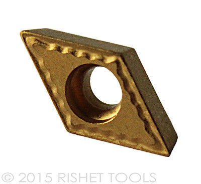RISHET TOOLS DCMT 32.52 C5 Multi Layer TiN Coated Carbide Inserts (10 PCS)
