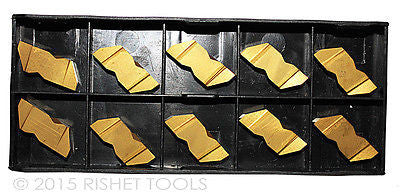 RISHET TOOLS NG 3189L C5 TiN Coated Notched Grooving Carbide Inserts (10 PCS)