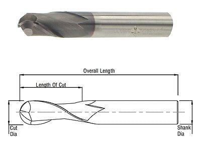 Cobra Carbide 25153 8 MM Carbide End Mill Ball Nose 2 FL Uncoated OAL 63 MM