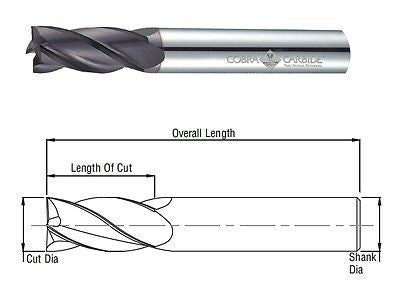 Cobra Carbide 24752 25 MM Carbide End Mill 4 FL Uncoated Metric OAL 100 MM