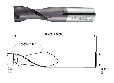 Cobra Carbide 24348 22 MM Carbide End Mill 2 FL TIALN Metric OAL 100 MM