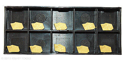 RISHET TOOLS GTN-2 C5 Multi Layer TiN Coated Carbide Inserts (10 PCS)