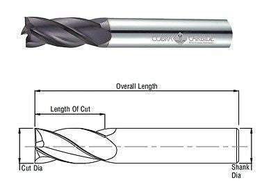 "Cobra Carbide 22256 3/16"" inch Carbide End Mill 4 Flute Uncoated Bright"