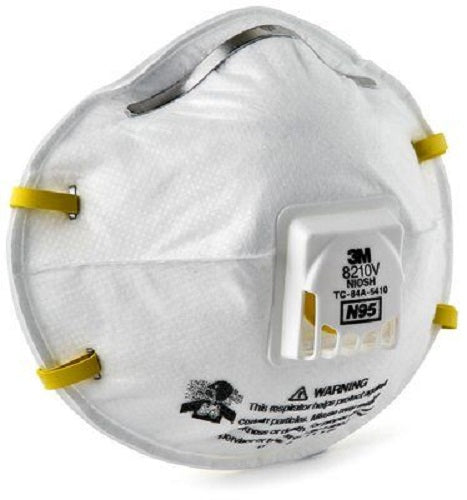 3M 8210V N95 Particulate Respirator Mask with Cool Flow Valve, NIOSH approved - Box of 10