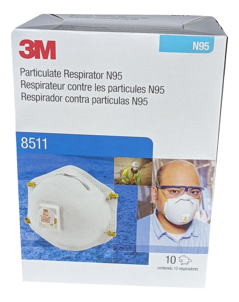 3M 8511 N95 Particulate Respirator disposable mask, NIOSH approved - Box of 10