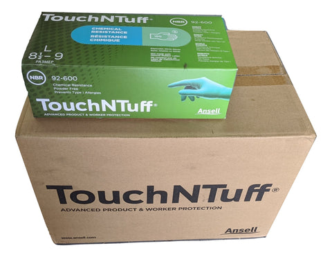 ANSELL TouchNTuff 92-600-L Chemical Resistant Nitrile powder free disposable gloves, Size LARGE - Case of 1000 (10 Boxes)
