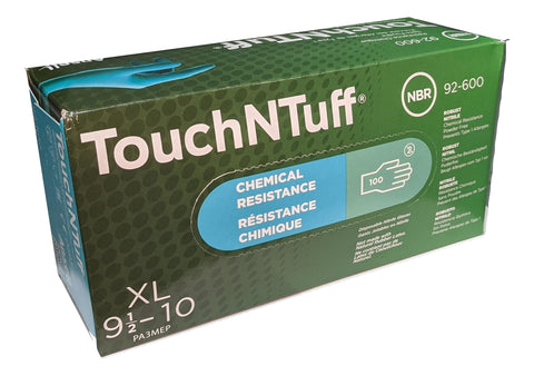 ANSELL TouchNTuff 92-600-XL Chemical Resistant Nitrile powder free disposable gloves, Size XL - Case of 1000 (10 Boxes)