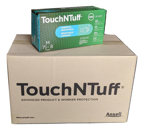 ANSELL TouchNTuff 92-600-M Chemical Resistant Nitrile powder free disposable gloves, Size MEDIUM - Case of 1000 (10 Boxes)