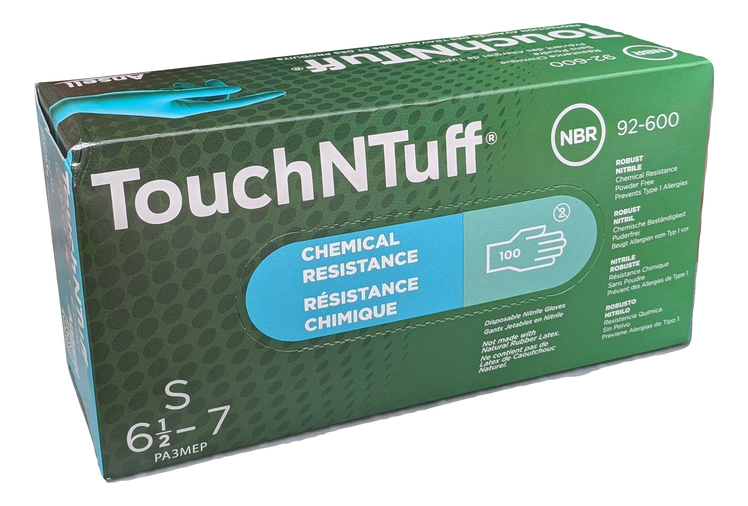 ANSELL TouchNTuff 92-600-S Chemical Resistant Nitrile powder free disposable gloves, Size SMALL - Case of 1000 (10 Boxes)