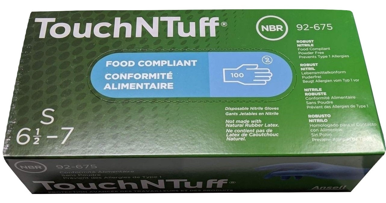 ANSELL TouchNTuff 92-675 Blue Nitrile powder free disposable gloves, Box of 100