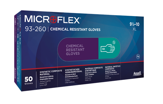 MICROFLEX 93-260-100 Chemical-resistant Nitrile disposable gloves Size XL - Case of 500 (10 Boxes of 50 Gloves)