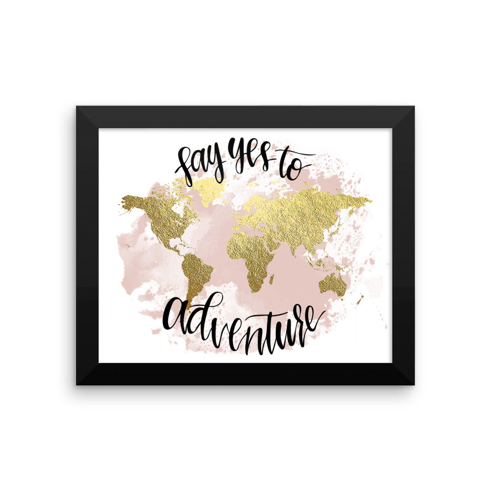 Framed World Map Print | Say Yes Blush