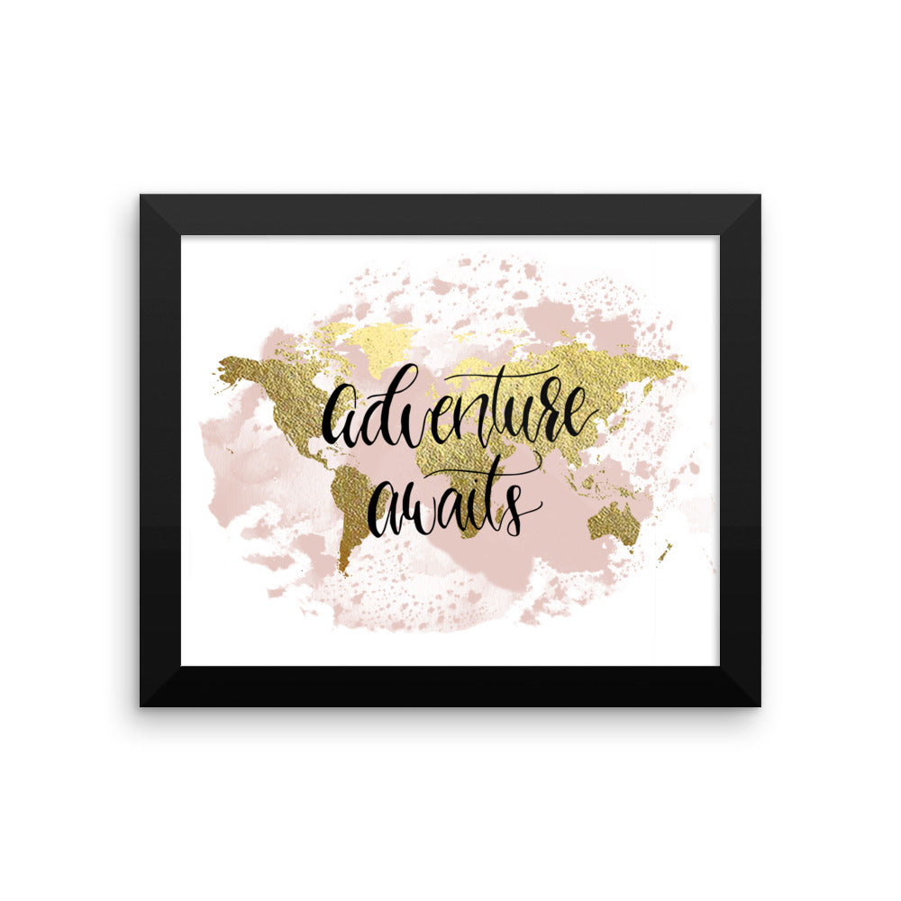 Framed World Map Print | Adventure Blush