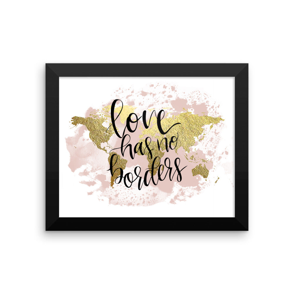 Framed World Map Print | Love Blush