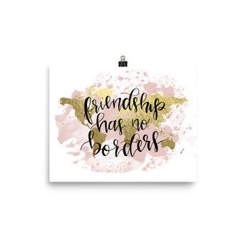 World Map Art Print | Friendship Blush