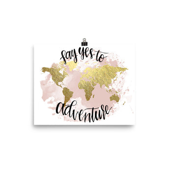 World Map Art Print | Say Yes Blush
