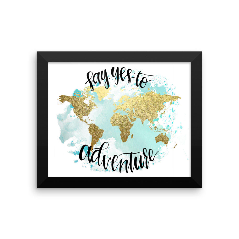 Framed World Map Print | Say Yes Blue