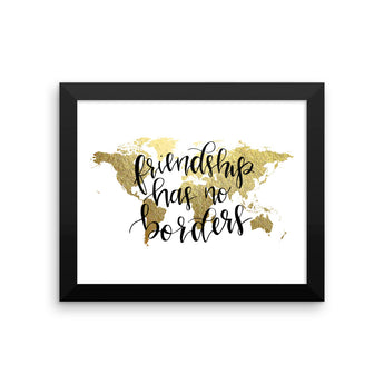 Framed World Map Print | Friendship
