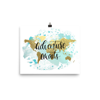 World Map Art Print | Adventure Awaits Blue