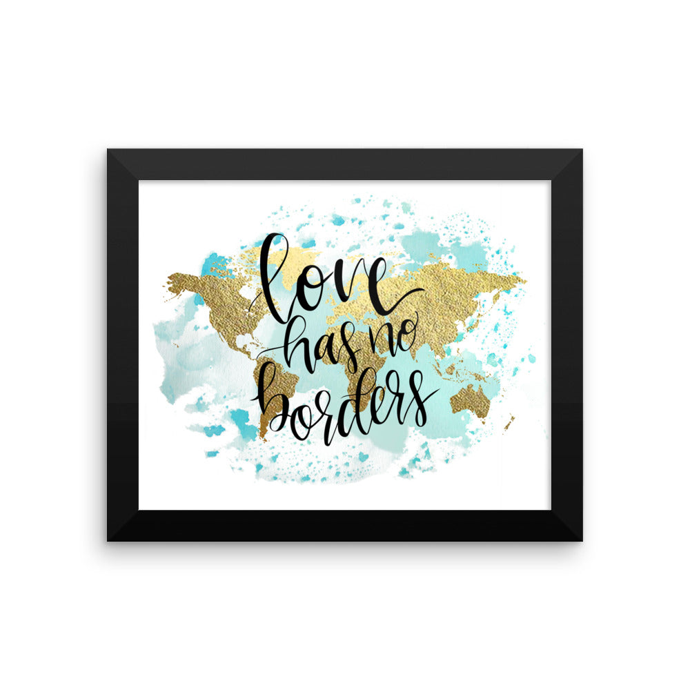 Framed World Map Print | Love Blue
