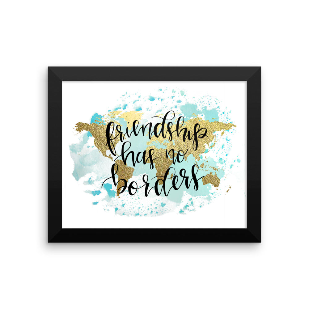 Framed World Map Print | Friendship Blue