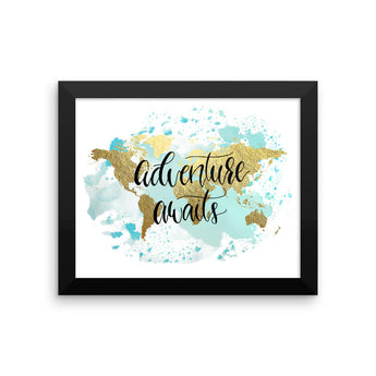Framed World Map Print | Adventure Blue