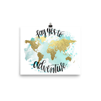 World Map Art Print | Say Yes Blue
