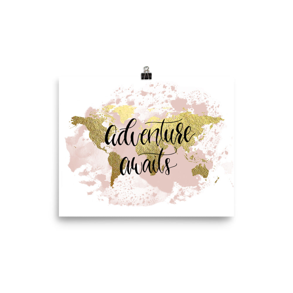 World Map Art Print | Adventure Awaits Blush