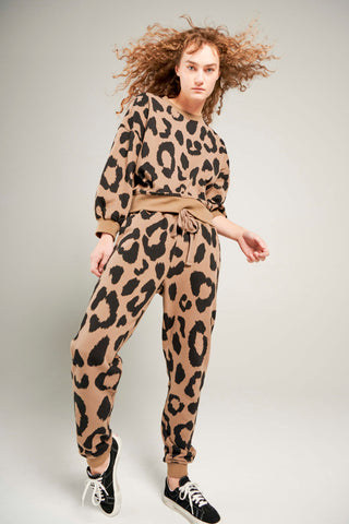 Alessa Slim Straight Leg Sweatpant - Safari Graphic Leopard