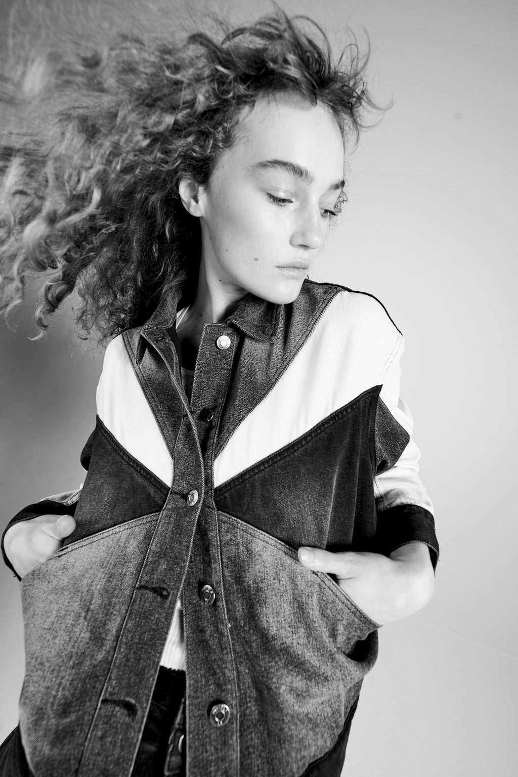 Willow Colorblock Boxy Denim Jacket - Phantom
