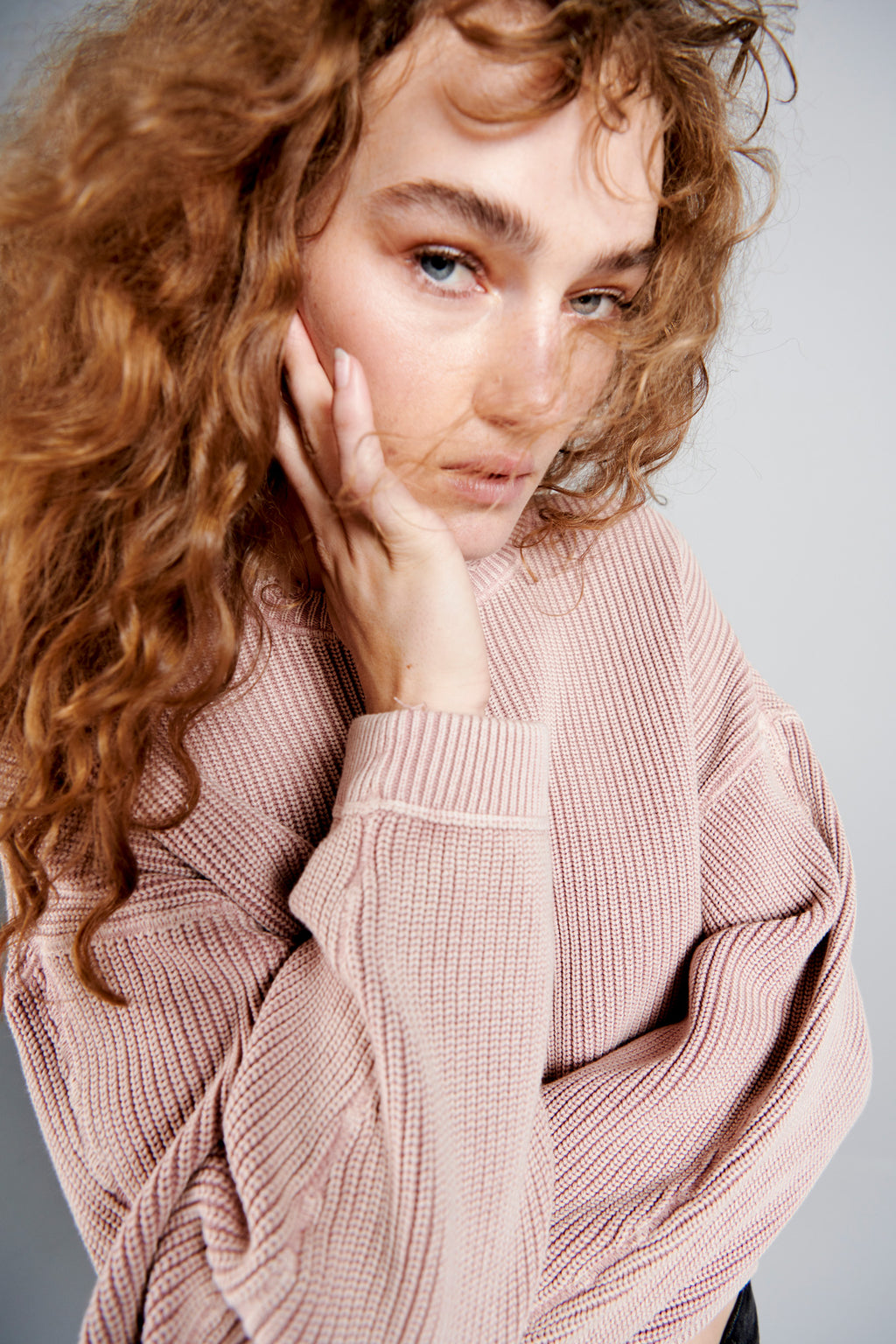 Frances Cropped Sweater - Dusty Rose