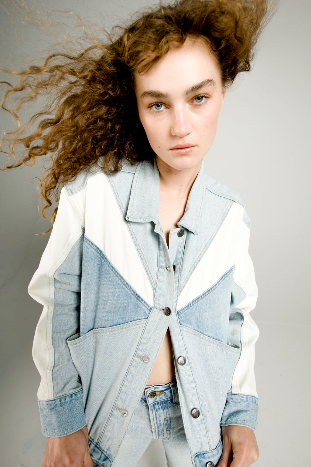 Willow Colorblock Boxy Denim Jacket - Transitions