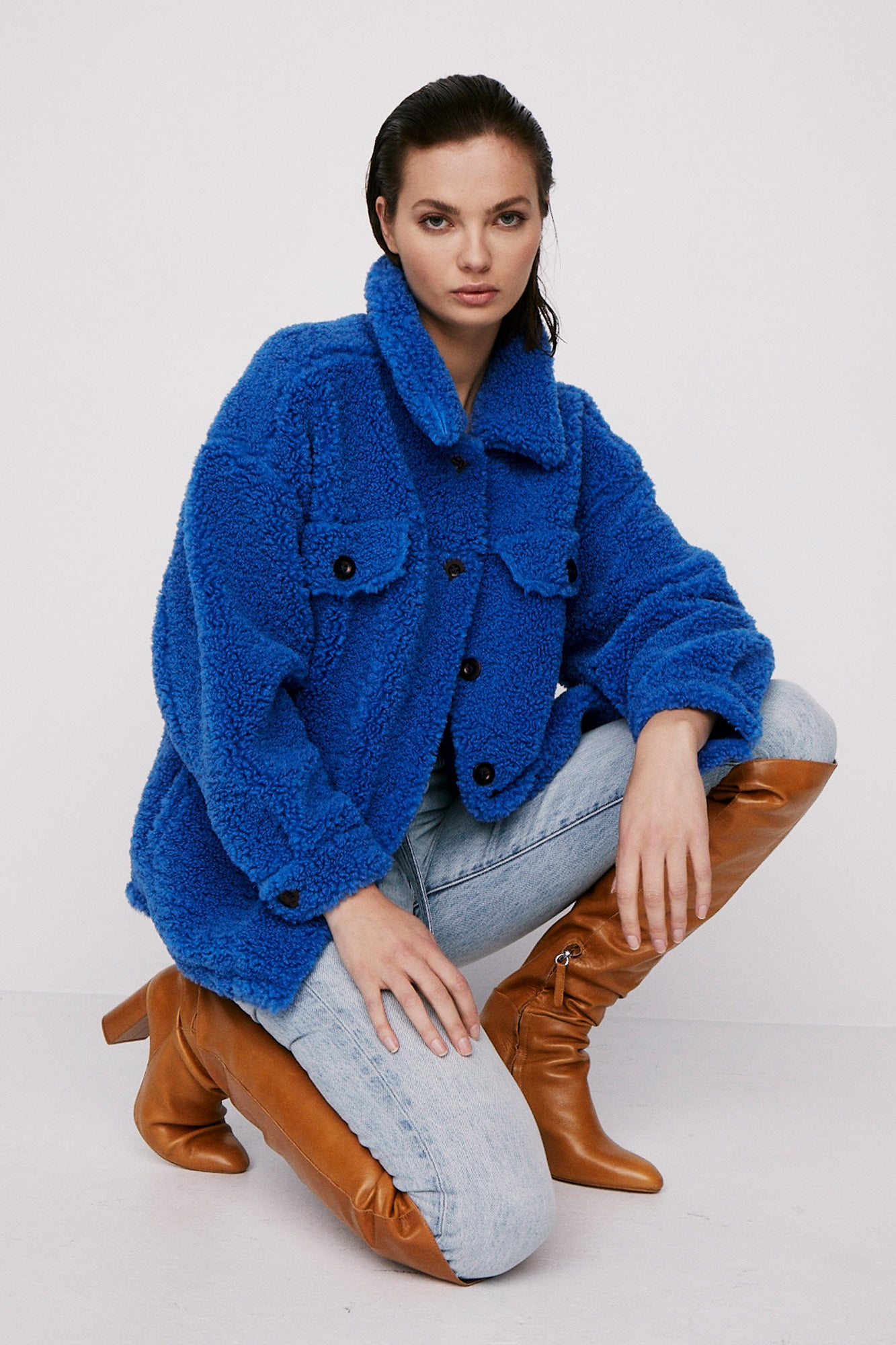 Nicki Sherpa Trucker Jacket - Bottega Blue